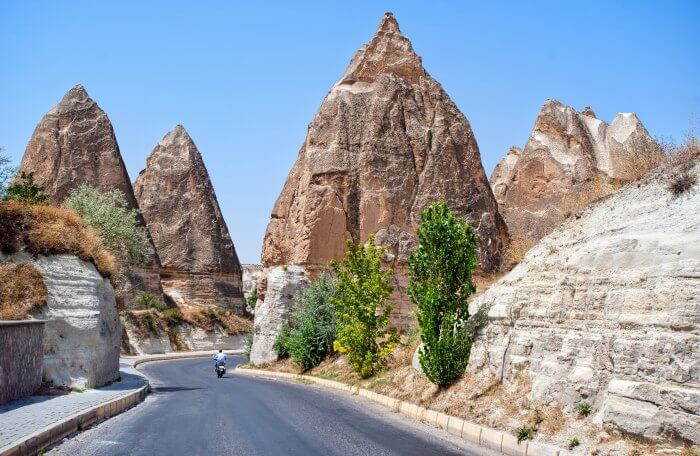 The roads in Turkey weaving through the caves of Cappadocia