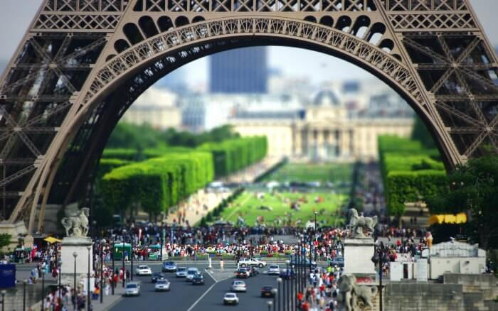 The busy road under the monumental Eiffel Tower