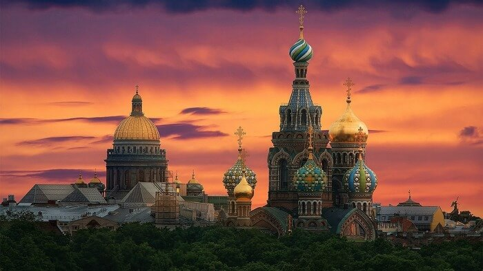 The St. Basil's Cathedral in Russia at dusk