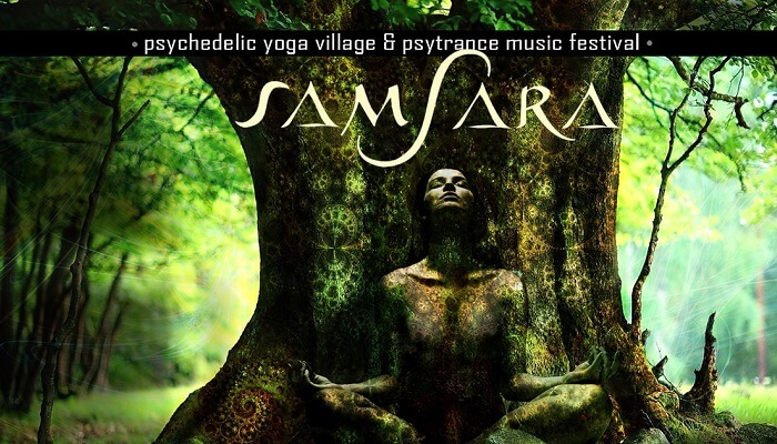 A promotional poster of the Indian edition of the Samsara yoga and music festival