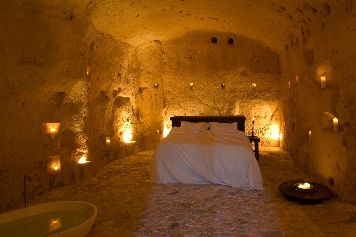 A suite at the Sextantio Cave Hotel in Matera