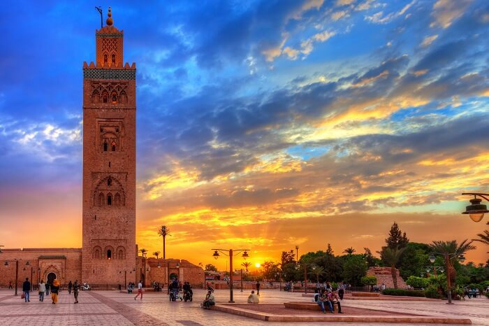 Koutoubia mosque in Marrakech at the time of an amazing sunset