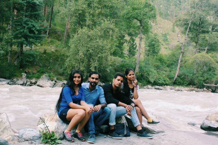 The entire group sitting near Parvati River