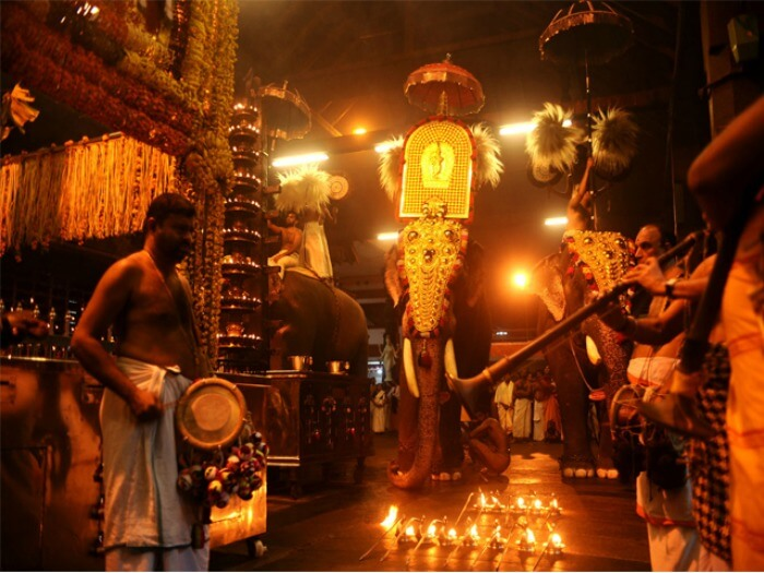 Decorated elephants during Guruvayur Ekadasi