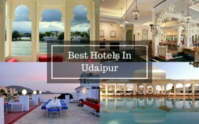 Collage showing some of the best hotels in Udaipur