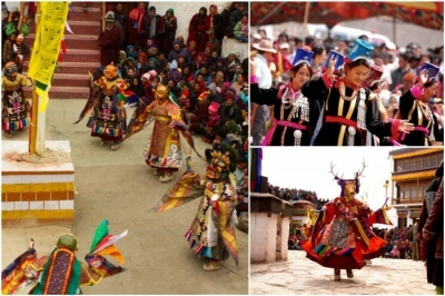Ladakhis celebrating festivals amidst colors and bonhomie