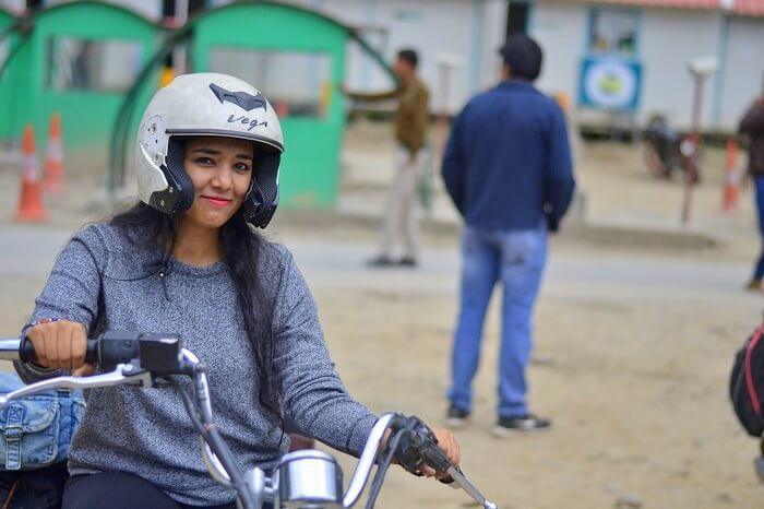 Avni on a bike in Manali
