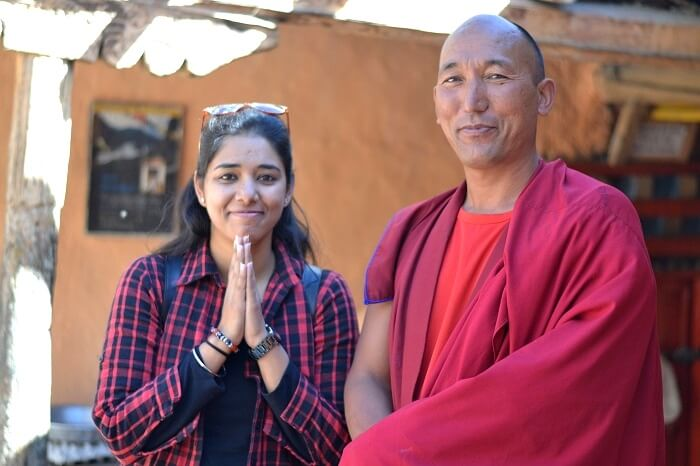 Avni with a monk in Tabo