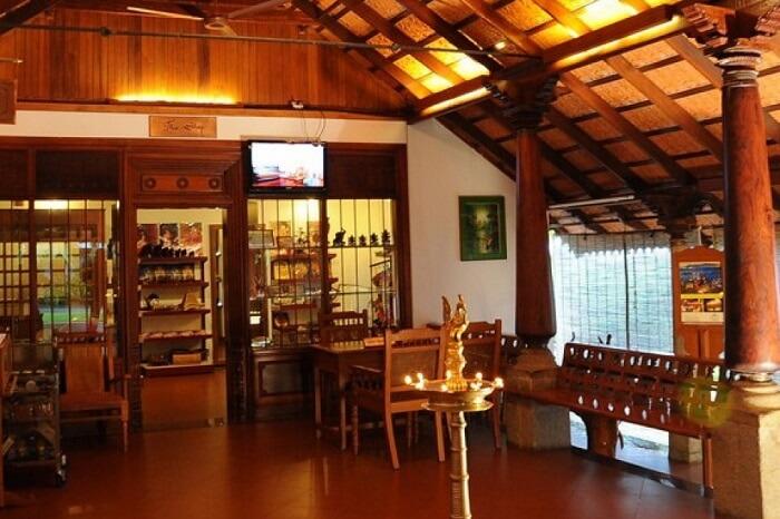 The interiors of a popular handicrafts shop in Kerala