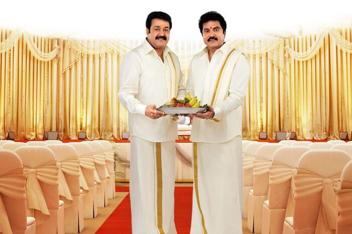 Actors pose for an ad of Kasavu Mundu dhotis