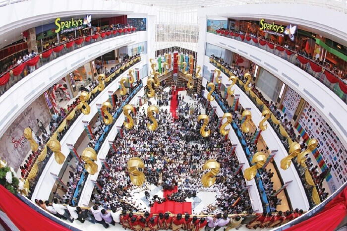 An aerial shot of the lobby of LuLu Mall in Kerala