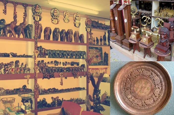 Multiple snaps taken at the Pulickatti handicrafts shop in Alleppey