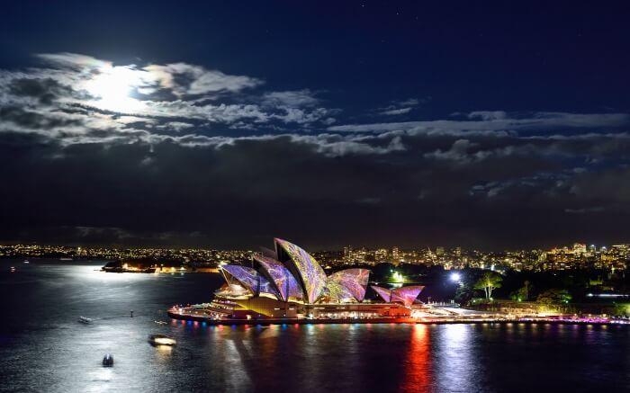 Lovely light show in Sydney Opera House