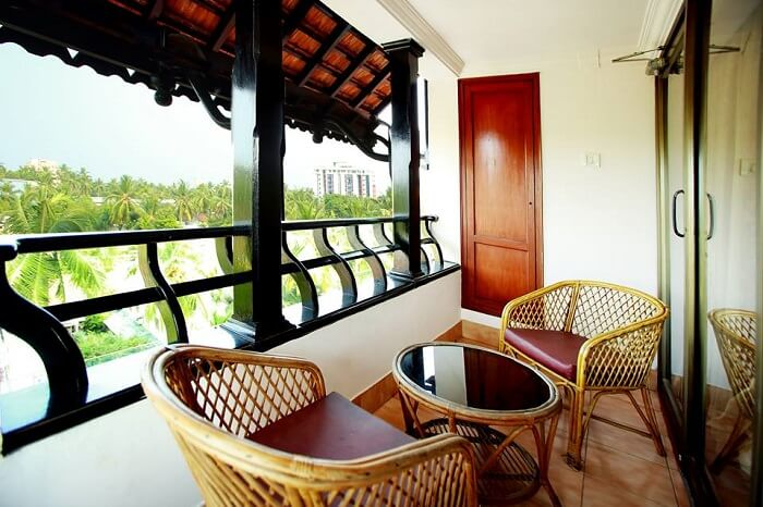 A balcony sitting area at the Westin Hotel in Calicut