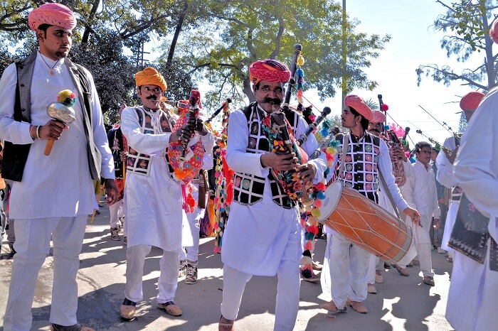 Musicians and other performers performing at the Winter Festival in Mount Abu