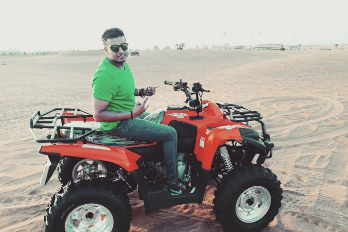 quad biking during desert safari