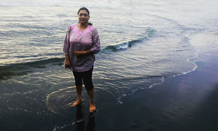 anuj's wife at the beach