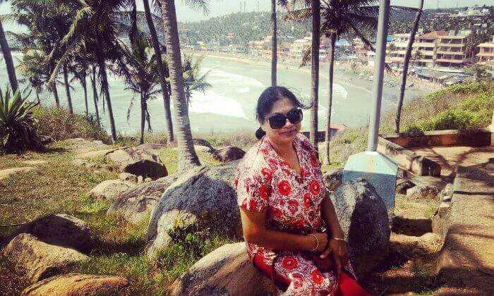 posing before the kovalam beach