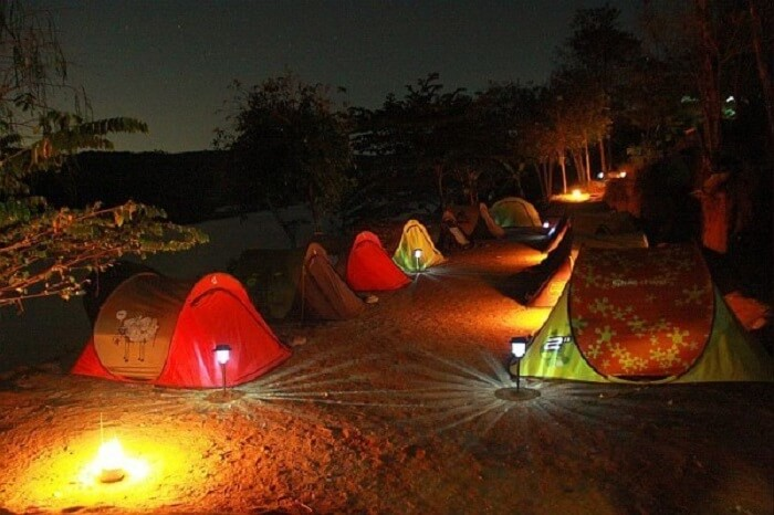 A night shot of a camp in Manchinbele near Bangalore