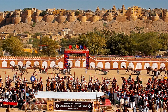 Participants and viewers at the fair arena during the Desert Festival in Rajasthan