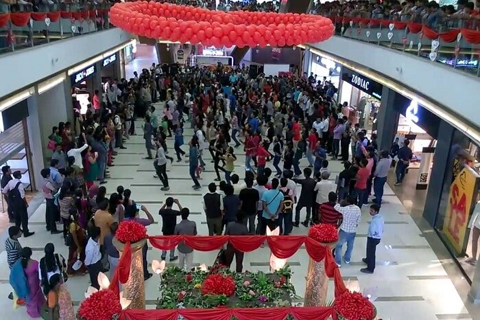 A flash mob performance taking place at the Centre Square Mall in Kochi