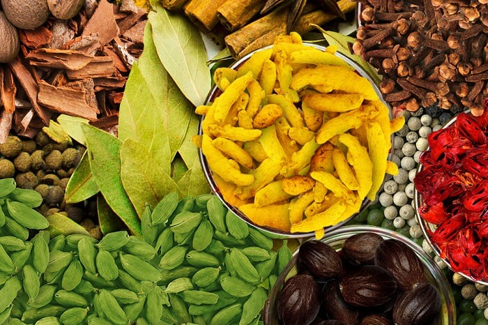 The various spices available at the Hindustan Spices and Herbals