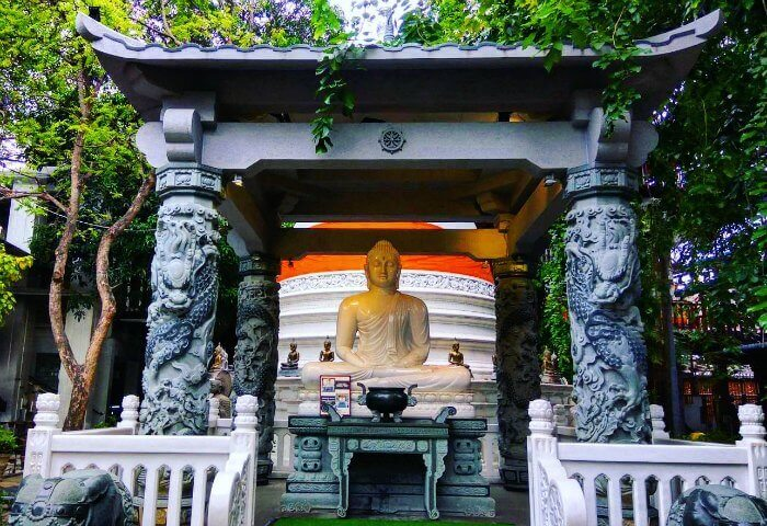 the Jade Buddha at the famous temple of Gangamaraya in Colombo