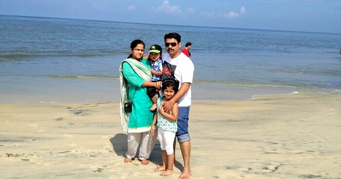 Subhakar with his family on a trip to Kerala
