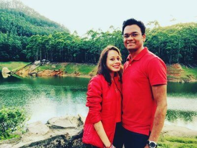 Vivek and his wife on a honeymoon trip to Kerala
