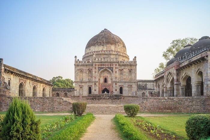 The front view of the Bara Gumbad at Lodhi Gardens in Delhi