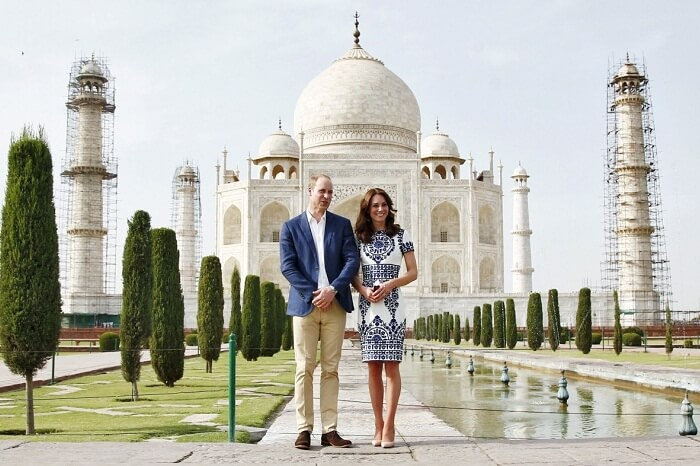 Britain's Prince William and his wife Catherine pose at the Taj Mahal in Agra