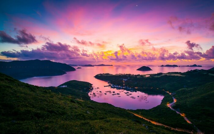 Colors of dawn in Clear Water Bay in Hong Kong