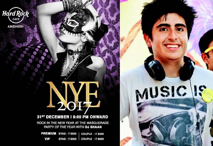 A promotional poster of the New Year Party in Mumbai 2017 at HRC Andheri with DJ Shaan