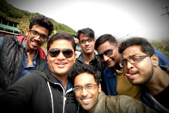 Aman and his friends near Baba Mandir