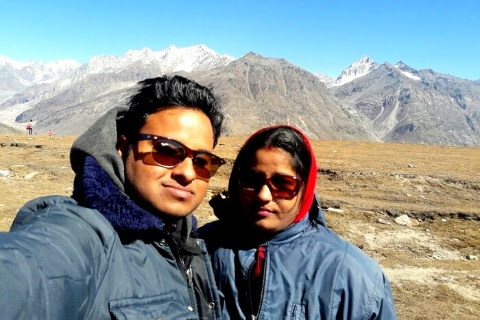 Tapan and his wife braving the chill