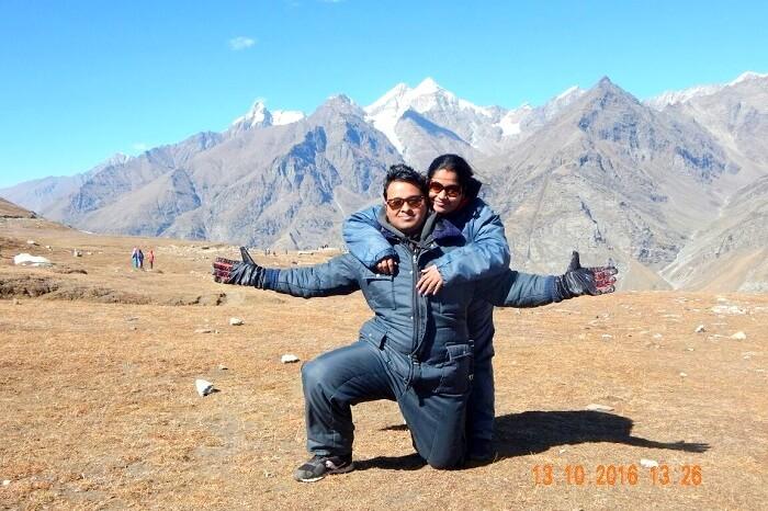 Tapan and his wife at Rohtang