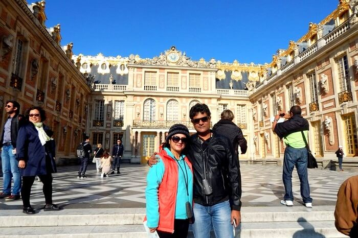 In front of the entrance at Versailles