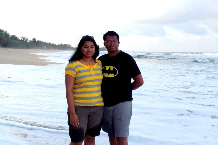 Arjun and his wife enjoying the cool waves