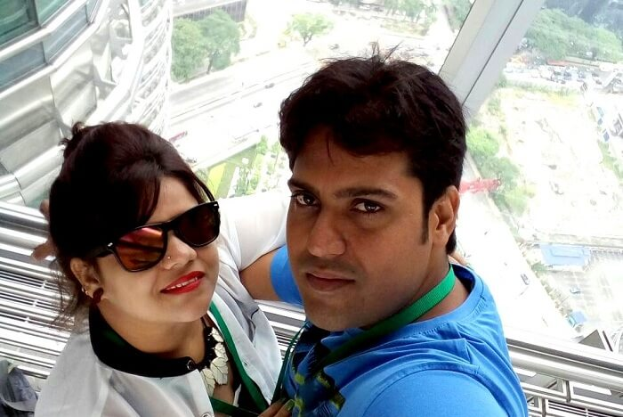 Ravi and his wife taking in a splendid view