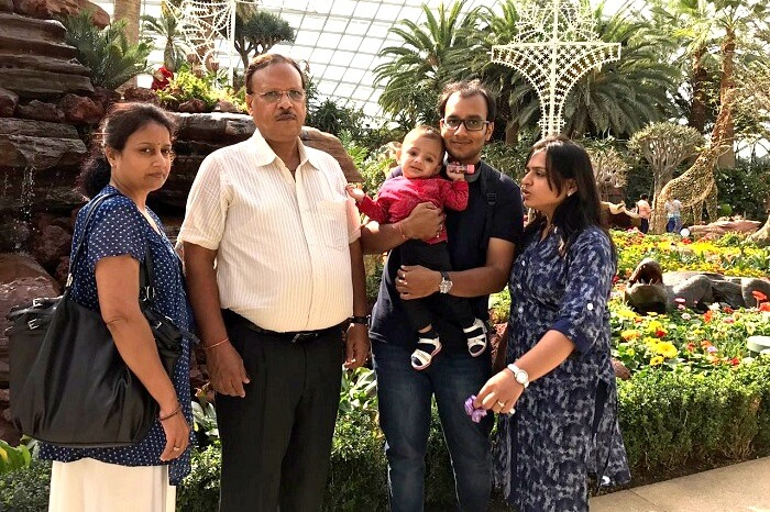 Mayank and his family in Singapore