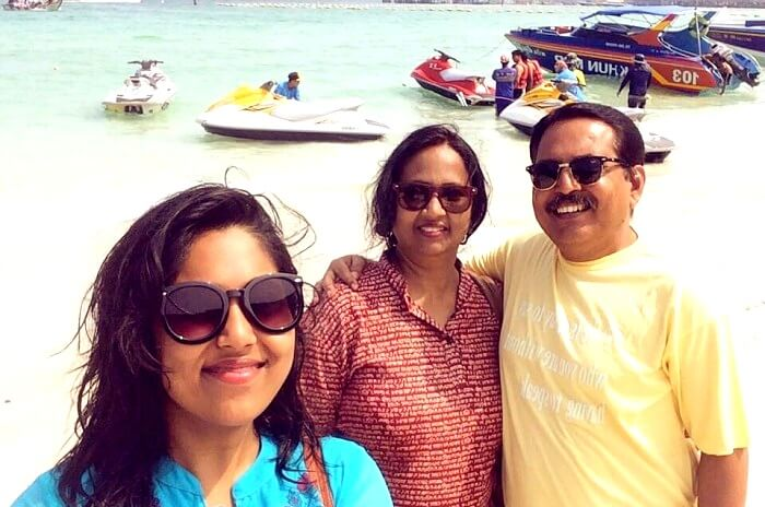 Alok and his family at Coral Island