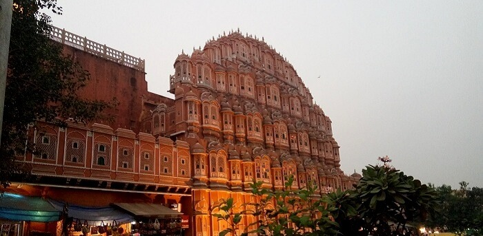 View of the Hawa Mahal in Jaipur