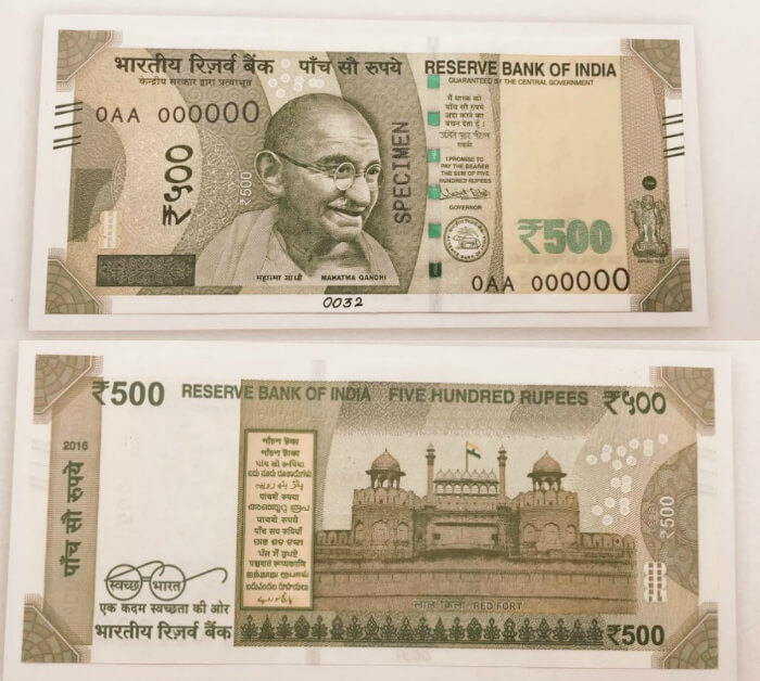 The front and back side of the new INR 500 note