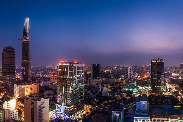 the skyline of Ho Chi Minh city