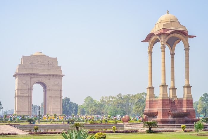 A snap of the India Gate and the canopy behind it on Rajpath