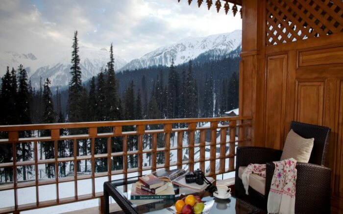 View from the sitout area in Khyber Himalayan Resort & Spa in Gulmarg