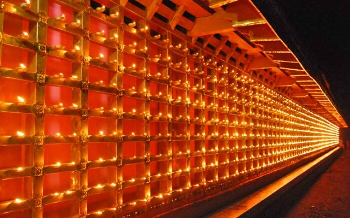 Butter lamps illuminated during the Tibetan Buddhist new year