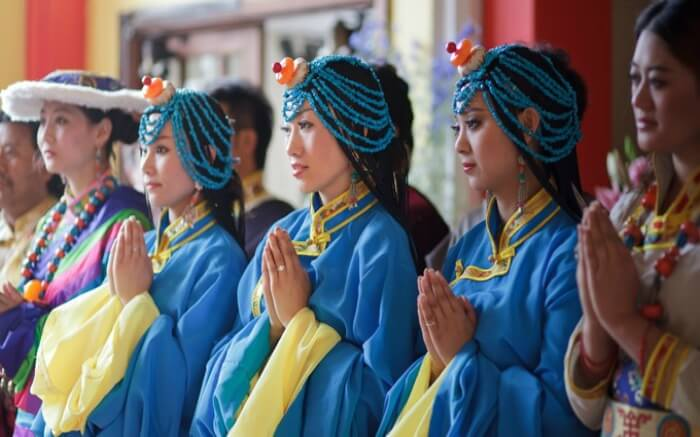 Women celebrating Tibetan new year in traditional attire