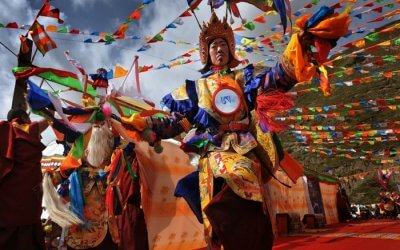 Performers during the drama show held during the Losar Festival