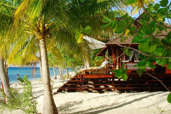 A beachside villa at the Motu Teta Private Island